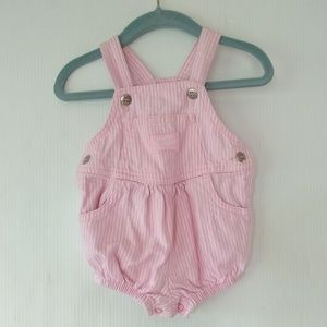 Vintage Oshkosh • pink striped bubble short-alls
